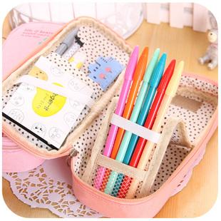 韩国文具盒可爱创意大容量多功能女学生铅笔盒长颈鹿帆布简约笔袋