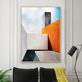 Pure hand-painted oil painting simple abstract rectangular geometric architecture landscape decorative painting living room sofa porch aisle mural