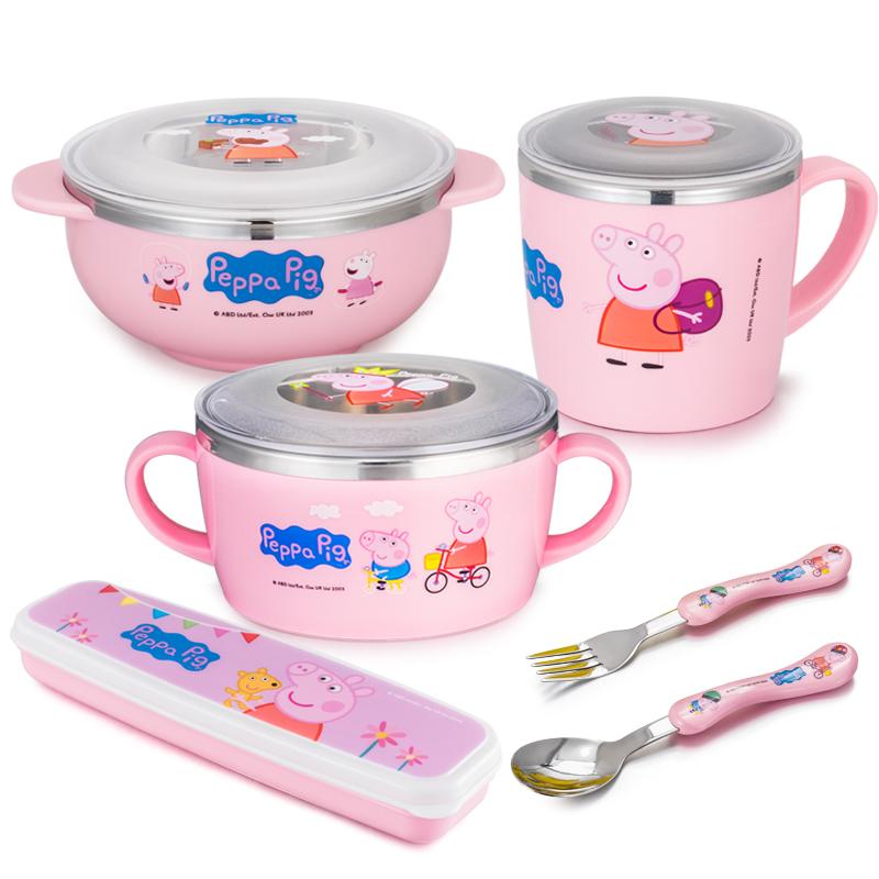 小猪佩奇儿童餐具套装女可爱防摔不锈钢卡通婴儿辅食吃饭宝宝碗勺