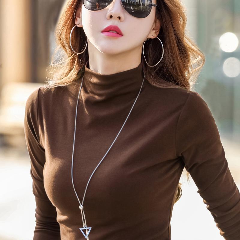 半高领打底衫女长袖t恤加厚加绒2019秋冬内搭纯棉黑色洋气上衣潮