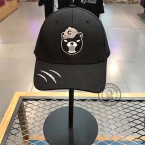 韩国MLB棒球帽鸭舌帽男女情侣卡通愤怒小熊长飘带字母刺绣可调节