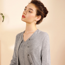 Shopping mall same autumn new product 2018 100% pure cashmere sweater genuine ladies cardigan bottom sweater