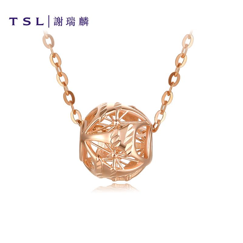 TSL谢瑞麟彩金玲珑珠系列18K金项链女气质玫瑰金锁骨套链AG083