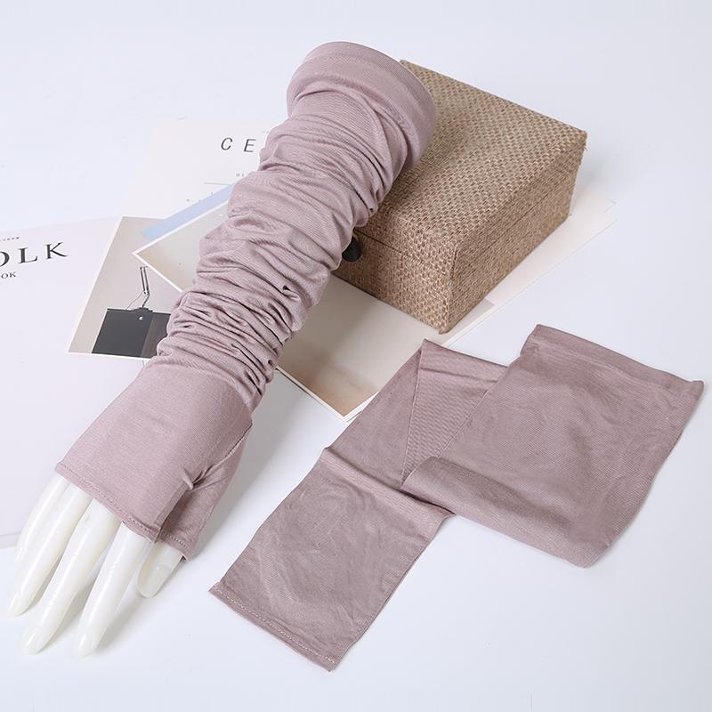 夏季超薄莫代尔棉长款防晒手套女开车弹力大码冰手臂套袖防紫外线