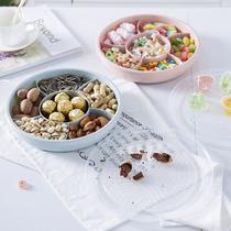 透明盖六格塑料果盒 糖果盘瓜子零食收纳盒带盖水果盘