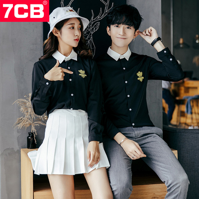7CB情侣装长袖衬衫 秋季新款日系修身纯色大码男女青年工作服衬衣