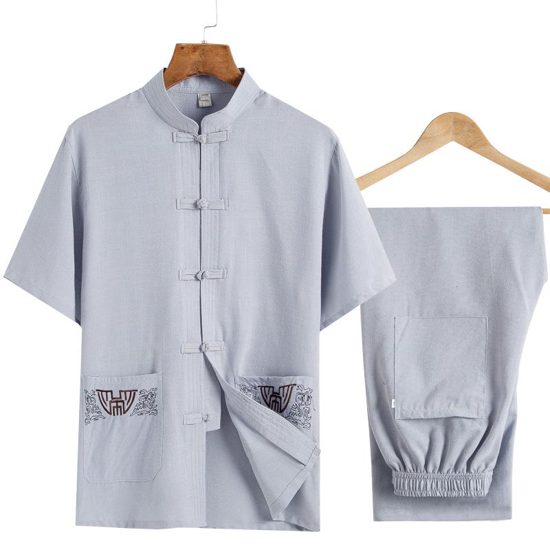 老人唐装男中老年人中国风薄款棉麻爸爸套装夏天爷爷夏季短袖衣服