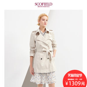 SCOFIELD女装2018春季时尚短款修身双排扣风衣外套SFJT81101S
