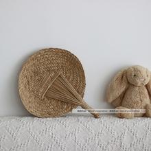 风物札记 慢生活夏有凉风 素朴怀旧手工编织日式草编蒲扇子包邮
