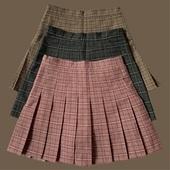 深色格子百褶裙a字短裙高腰学生百搭裙子