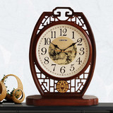 Chinese seat clock living room solid wood sitting clock tabletop clock Chinese wind creative large home swing table-top watch pieces