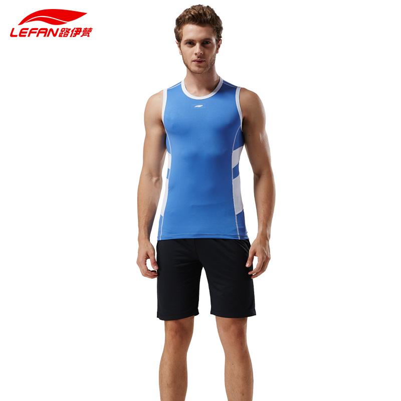 路伊梵速干健身房运动服套装夏季男士透气紧身衣背心短裤跑步衣服