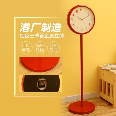 落地钟客厅金属落地钟表新居大红色礼品时尚摆设座钟卧室12寸立钟