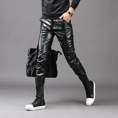 秋冬季青少年男士皮裤韩版修身简约摩托车机车个性保暖大码皮裤男