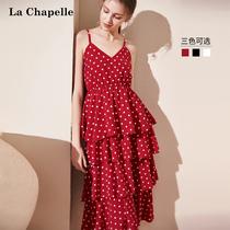 雪纺红色波点吊带连衣裙2019新款女装中长款仙女裙子夏蛋糕裙学生