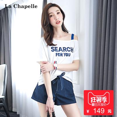 拉夏贝尔2018夏装新款白色短袖t恤女韩版不对称露肩吊带体恤上衣