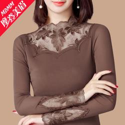 摩登美眉秋装2018新款女网纱打底衫长袖立领t恤蕾丝上衣洋气小衫