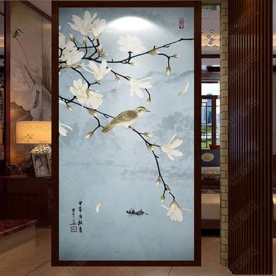 玄关过道走廊餐厅立体3D背景墙壁纸新中式花鸟意境无纺布大型壁画