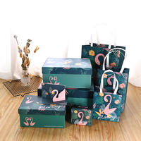 Gift box Korean flamingo exquisite simple lipstick gift rectangular box high-end gift bag tote bag