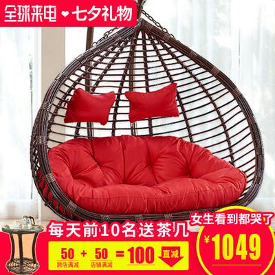 室内吊椅藤椅欧式双人大悬吊床儿童秋千家用成人客厅北欧吊篮摇椅