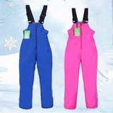 Children's ski pants girl boys waterproof warm plus thick wind-proof outdoor cold-proof strap small middle-aged children's cotton pants