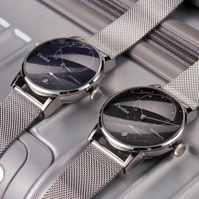 男士机械表全自动镂空大表盘手表男学生韩版简约防水潮流休闲男表哪个牌子好