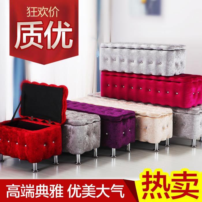 上新可储物沙发凳收纳换鞋凳布艺鞋店试穿鞋凳欧式床尾凳理发店坐