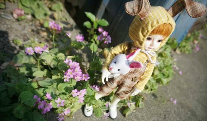 6分BJD娃娃衣服YOSD 大6分 堕落的兔子 条纹连帽衣 背带裤 1套价