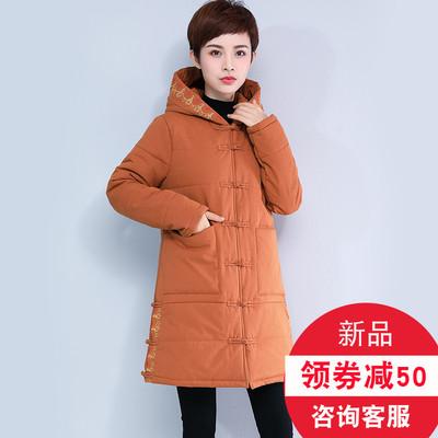 棉衣女中长款2018冬装新款中年妈妈装中老年人棉袄加大码棉服外套
