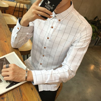 秋季青少年新款男士长袖衬衫格子修身商务休闲男衬衣打底格纹衬衣