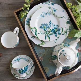 欧式陶瓷咖啡杯碟子英式下午红茶杯套装甜品盘骨瓷田园复古咖啡具