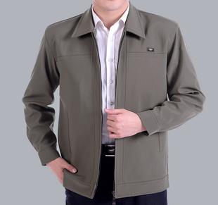 夹克衫外套中老人春秋爸爸薄款休闲