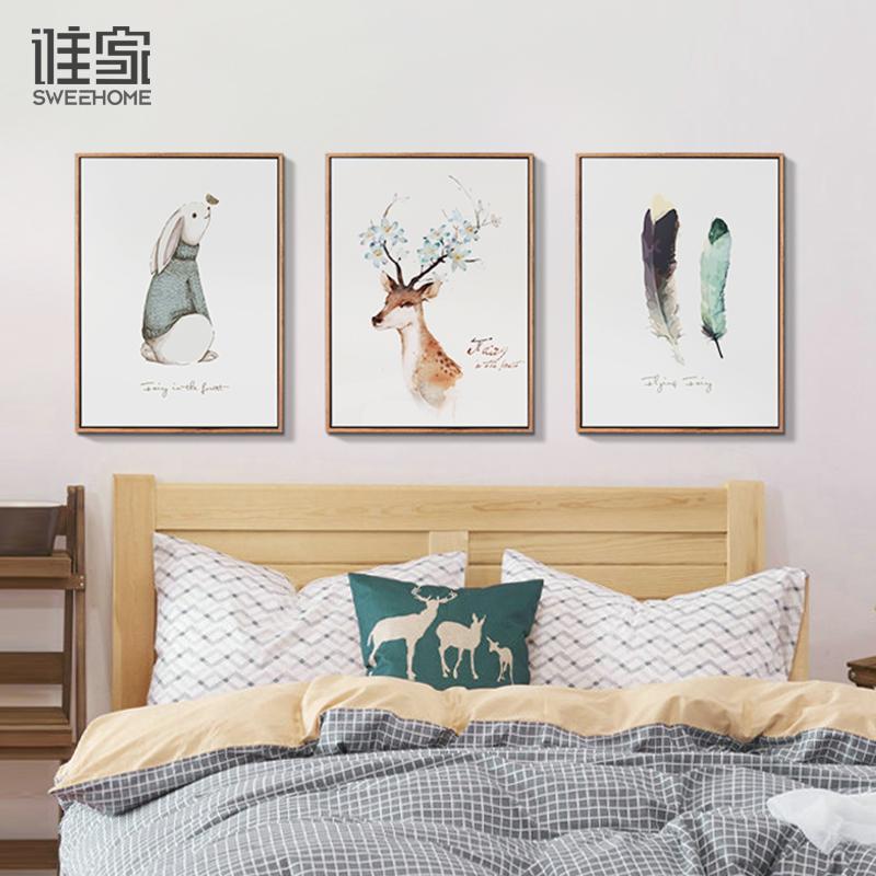 现代简约客厅装饰画电表箱北欧沙发背景墙壁画油画餐厅挂画三联画
