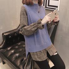 春装假两件套毛衣 新款复古格子荷叶袖针织衫时尚不规则打底衫潮