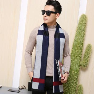 男士围巾冬季简约百搭毛线针织年轻人保暖韩版潮学生长款围脖棉