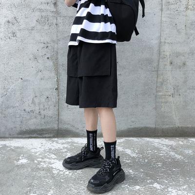 夏季港风chic短裤男潮牌ins日系宽松五分裤坠感直筒帅气网红阔腿