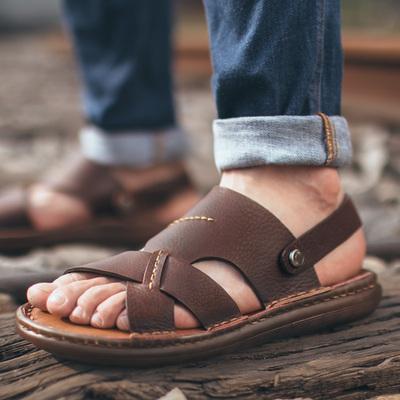 男凉鞋凉鞋男真皮正品休闲鞋男鞋透气牛皮凉鞋沙滩鞋2018新款