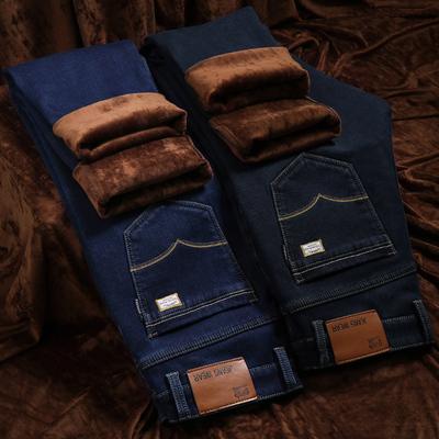 秋季秋冬款男士牛仔裤男加绒加厚宽松直筒修身弹力大码棉裤子潮流