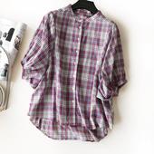 格纹配色仙气 显瘦小立领衬衫 灯笼袖 上衣设计感女小众 19夏潮