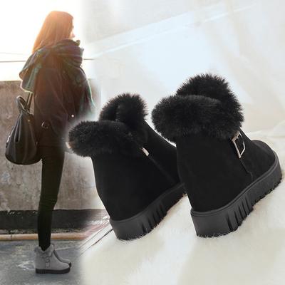 2018冬季学生女靴子短靴韩版内增高雪地靴女磨砂短筒加绒保暖棉鞋