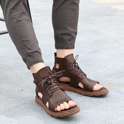 夏季高帮真皮男士个性2018新款凉鞋潮时尚百搭罗马凉鞋休闲沙滩鞋