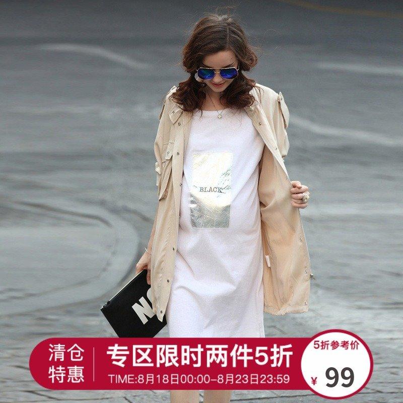 【专区满两件享5折】孕妇风衣外套时尚新款翻领中长款宽松秋装