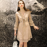 Daixi pregnant women spring dress new fashion sequins bow loose trumpet sleeves temperament summer dress