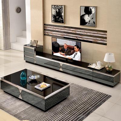 茶几电视柜组合套装现代简约小户型客厅长方形不锈钢钢化玻璃茶几哪款好
