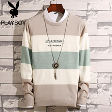 Playboy 2018 new sweater men's Korean version of the round neck sweater winter men's fake two sweaters tide