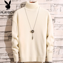 Playboy Winter 2018 New High-collar Sweater Men's Korean Edition Plush Thickened Knitted Shirt Chao Men's Wool