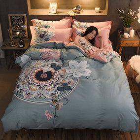 纯棉四件套全棉家纺1.5m1.8米2.0双人床单被套床笠三件套床上用品