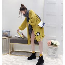 毛衣女宽松外套春秋季2017新款韩版学生百搭中长款薄针织开衫冬装