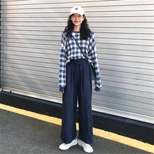 秋季新款 套装 高腰纯色阔腿裤 女装 chic复古港味格子圆领卫衣 韩版