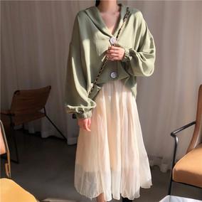 韩版春夏宽松V领灯笼袖防晒衫长袖衬衣+超仙中长款半身纱裙套装女